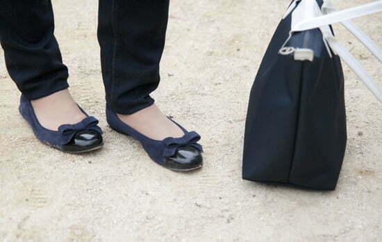 Diesel-Jeans, Scarosso-Ballerinas und Longchamp-Tasche