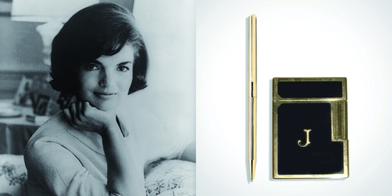 Jackie Kennedy with her pen and lighter