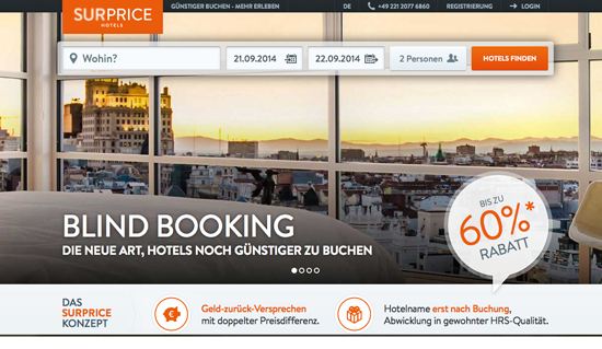 Blind Booking bei SUPRICE Hotels