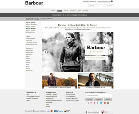 Barbour Online-Shop