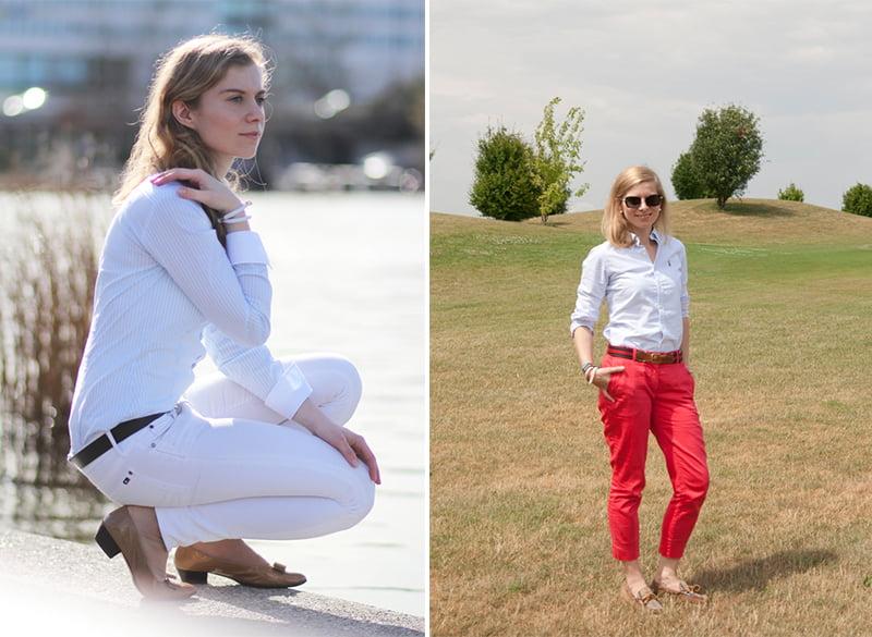 Die Basisgarderobe der Lady: Weiße Jeans und rote Chino