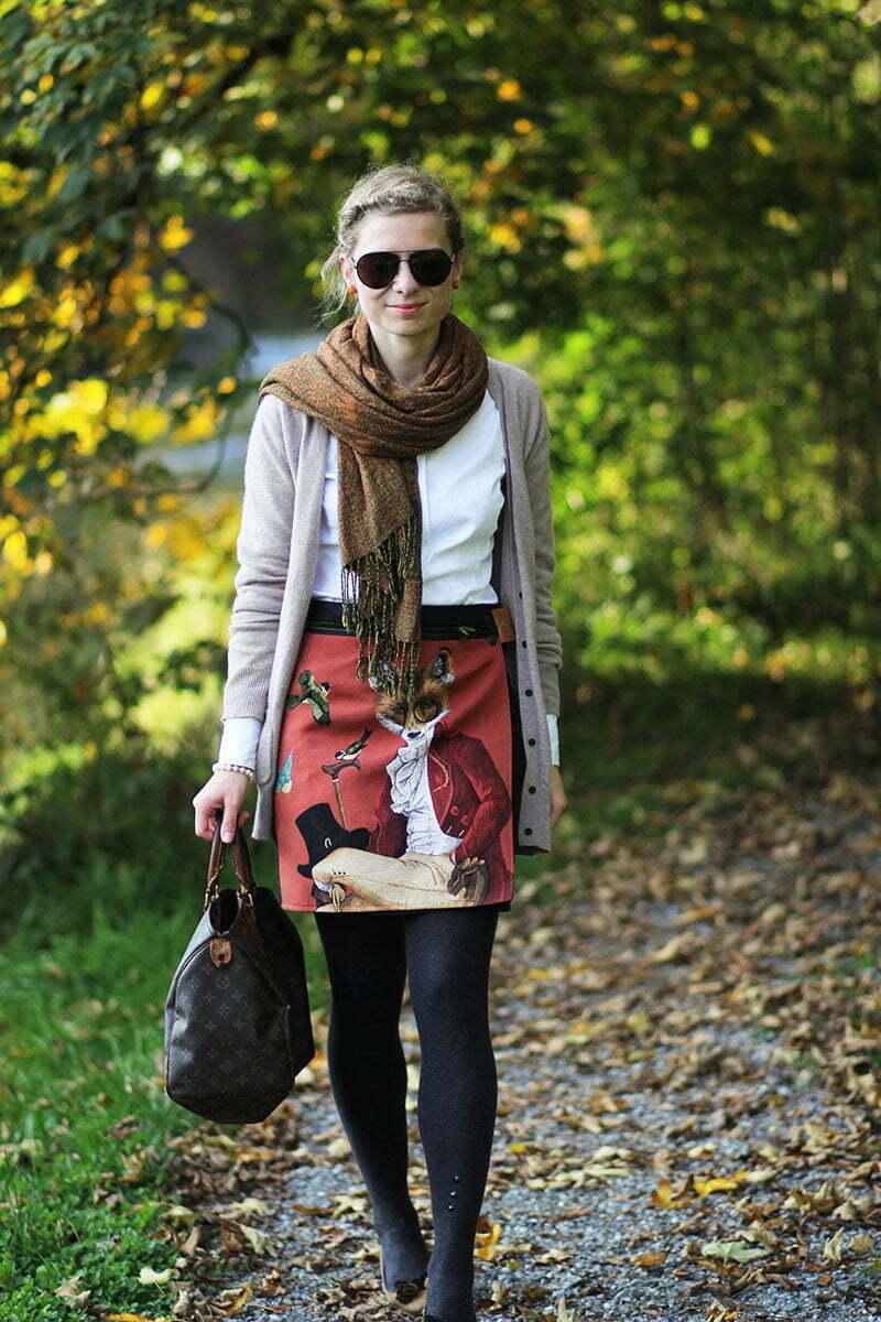 Daniela Uhrich vom Lady-Blog trägt ihren Fuchs-Rock von De Nordecce