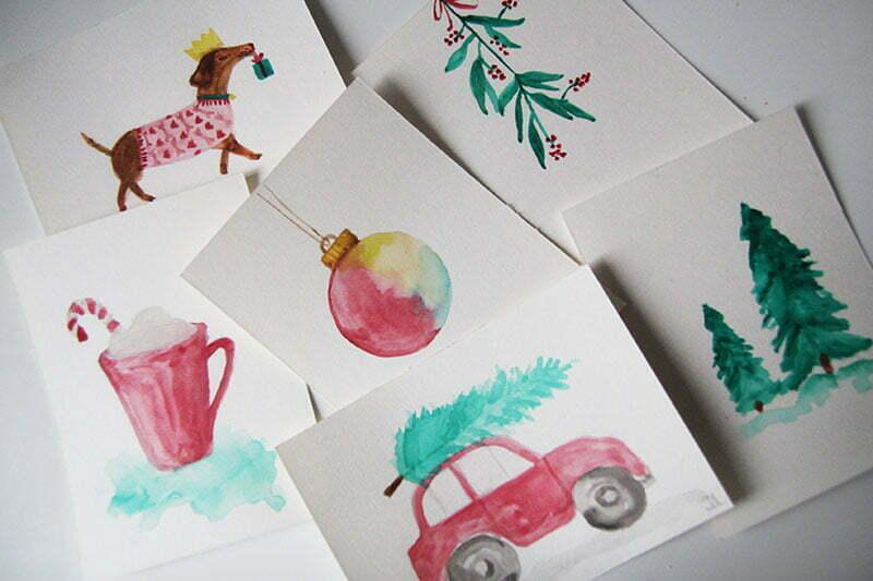 Weihnachtskarten mit Aquarellmalerei selber machen