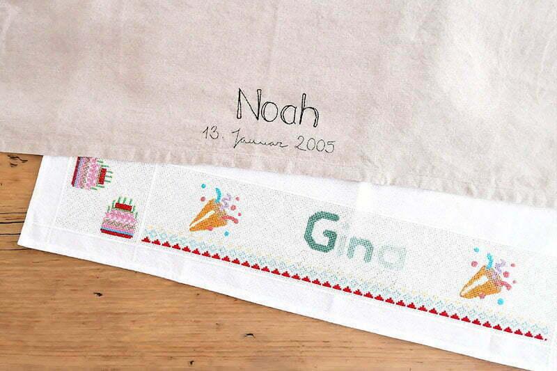 Nachhaltige Geburtstagsdeko: Bestickte Geburtstagstischdecke