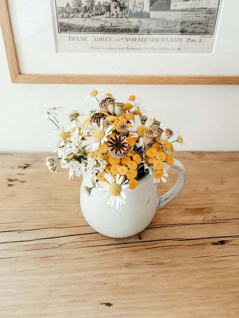 Blumenstrauß im Spätsommer: Kamille und Rainfarn